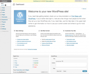 Tableau de bord de WordPress 3.4