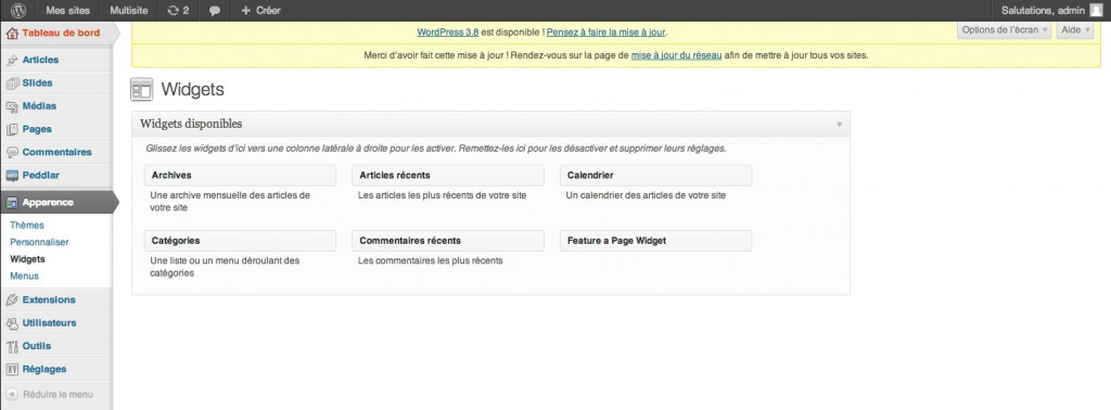 Tableau de bord de WordPress 3.7