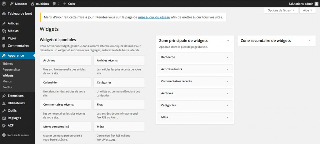 Tableau de bord de WordPress 3.8
